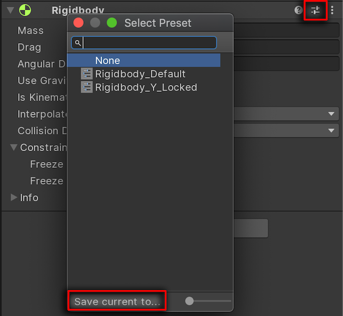 Unity presets feature